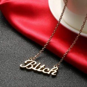 ✨RESTOCKED 'Bitch' Phrase Necklace Chain Statement